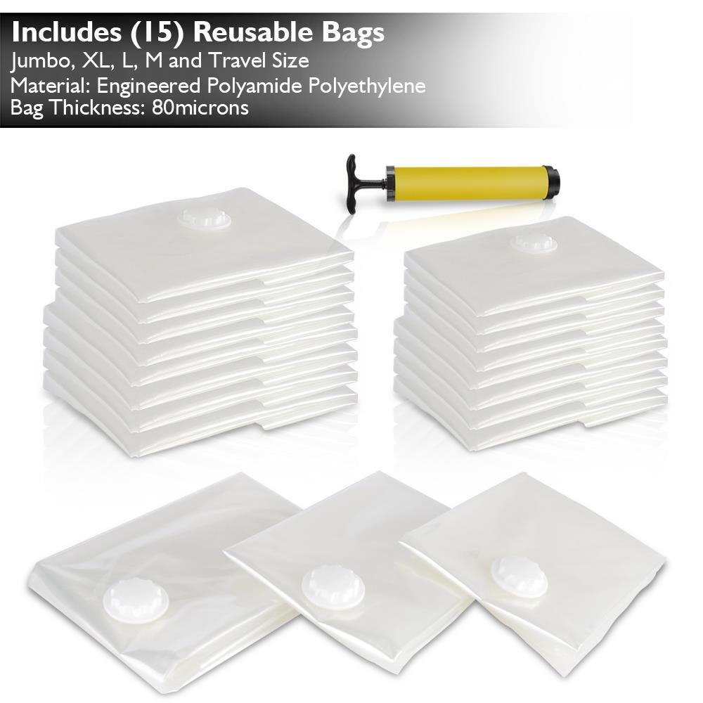 Premium Vacuum Storage Bags Bundle with Hand Vacuum Pump | Easy to Use, Reusable, 6 Sizes, Zippered Plastic Space Saver Bags for Storage, Travel & Closet Organization (15 PC Value Pack)