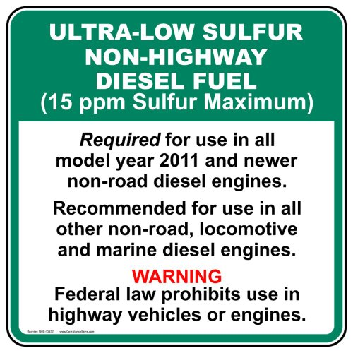 - Ultra-Low Sulfur Non-Highway Diesel Fuel Label Decal, 5x5 in. 4-Pack Vinyl for Fuel by ComplianceSigns