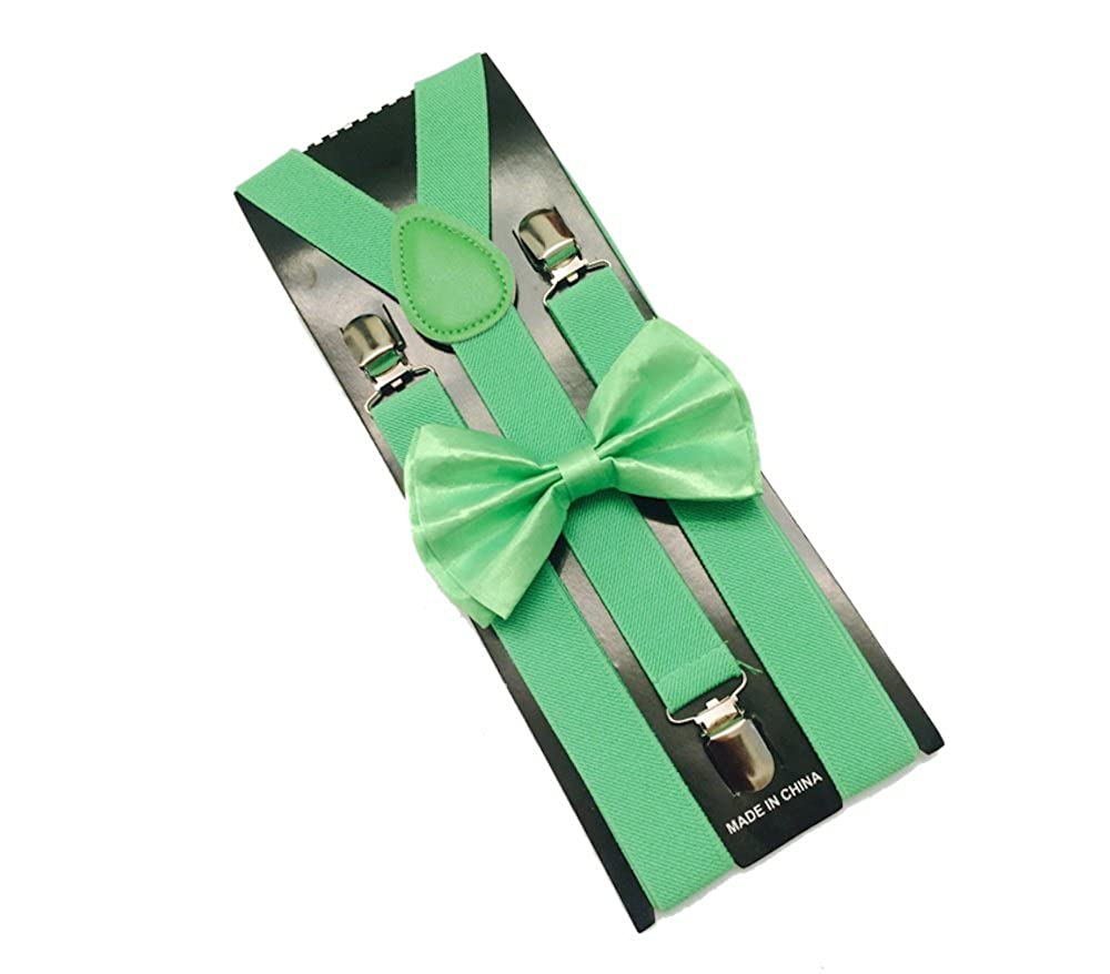 Neon Green Mens Bowtie Set Youth Bow Tie and Suspenders for Men Clip Suspenders
