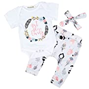Newborn Baby Girl Clothes Cotton Romper + Floral Pants + Bowknot Headband 3pcs (12-18 Month) White