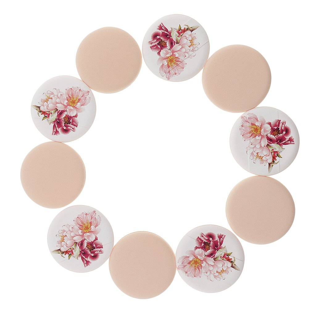 Homyl Packs of 10 Pieces Air Cushion Puff Cream Makeup Sponge Blending BB Cream Concealer Facial Face Skin Care Soft Powder Applicators - Multi, Peach Blossom