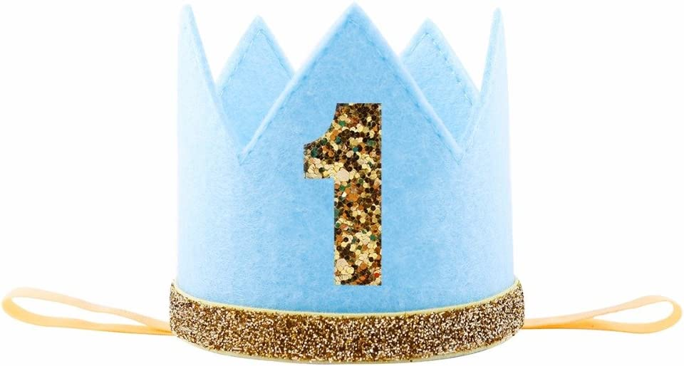 iMagitek Baby Boy First Birthday Crown Hat Photo Prop Party Supplies Favors - Blue