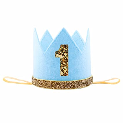 IMagitek Baby Boy First 1quot Birthday Crown Hat Photo Prop Party Supplies Favors