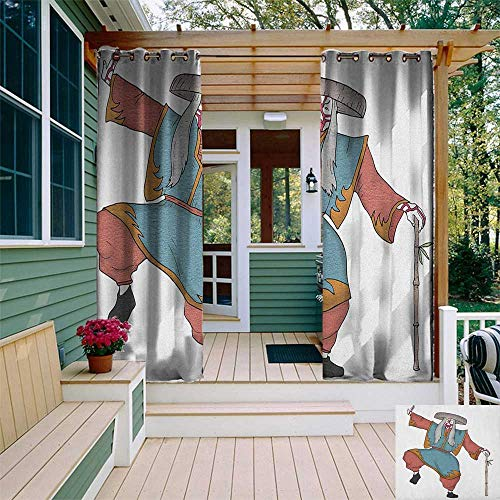 leinuoyi Kabuki Mask, Outdoor Curtain Grommet, Cultural Asian Character Posing with Traditional Hat Make Up and Costume Print, Outdoor Privacy Porch Curtains W108 x L108 Inch -