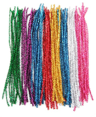 Mixed Stems (ALL in ONE 100pcs Mixed Color Glitter Sparkle Pipe Cleaners Tinsel Stems 6mm 12-inch)