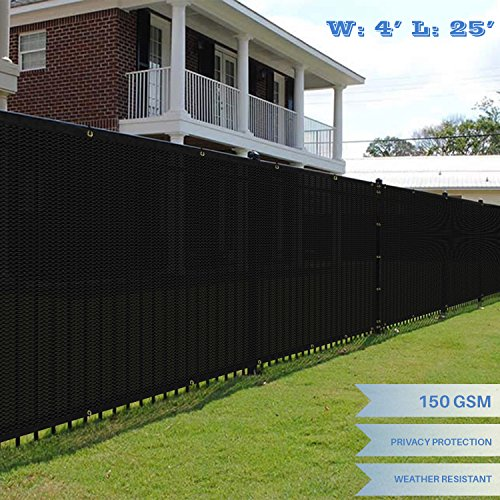 E K Sunrise 4 x 25 Black Fence Privacy Screen, Commercial Outdoor Backyard Shade Windscreen Mesh Fabric 3 Years Warranty Customized Set of 1