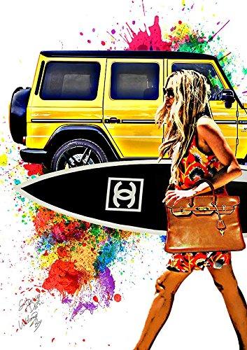 キャンバスポスター Chanel Surf シャネル アートキャンバス サーフボード インテリア #wb30 STAR DESIGN A2サイズ(420×594mm) B079XYBCSVA2(420×594mm)