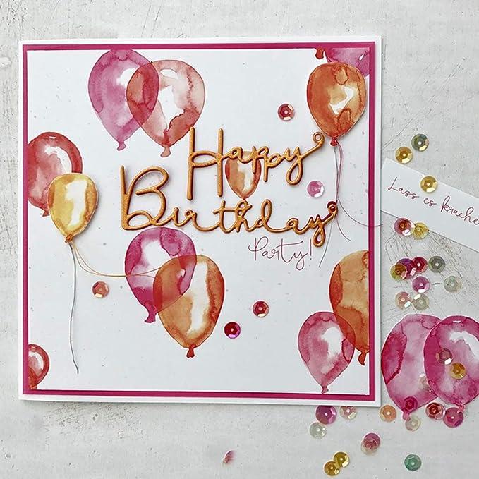 Metall Sweet Dixie Happy Birthday /& Swirl Stanze Grau 5.4 x 8.8 x 0.1 cm