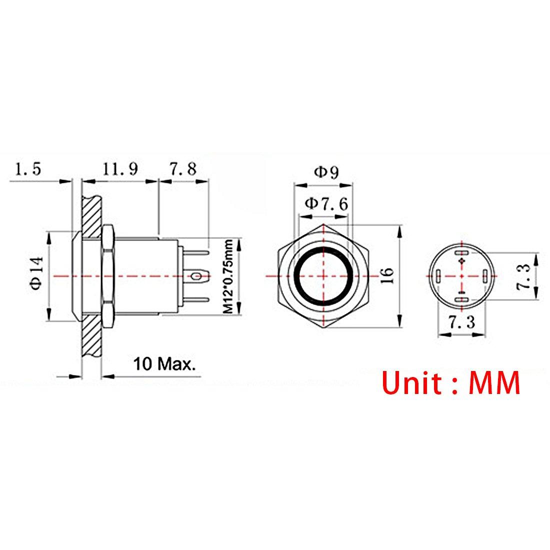 Larcele 5 Stücke Wasserdicht Push Button Metall Mini Drücken Taster ...
