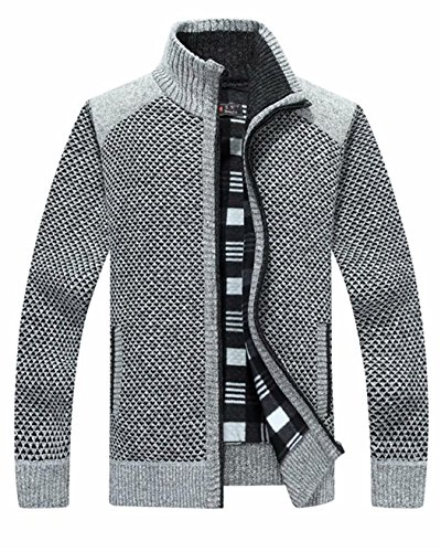 Vcansion Men's Classic Long Sleeve Full Zip up Plus Warm Knitted Fleece Wool Cardigan Sweaters Jacket Coats Light Grey US XL