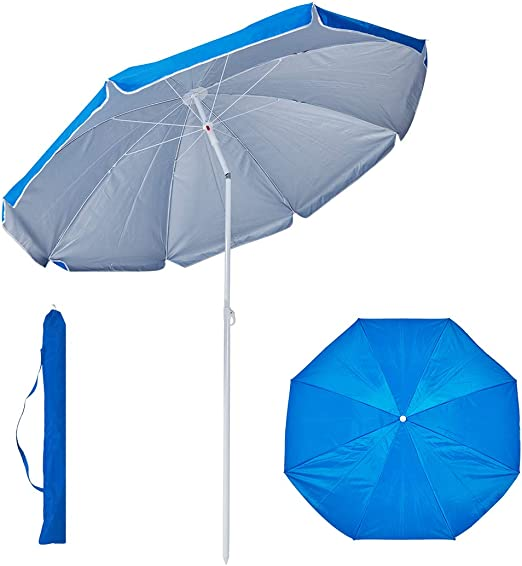 Duhome Sombrilla Ø 160 cm Parasol poliéster para terraza Playa ...