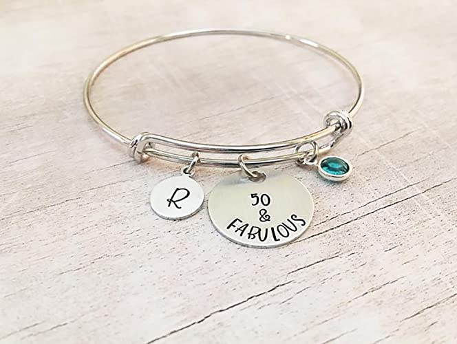 Image Unavailable Not Available For Color Personalized Bangle Charm Bracelet 50th Birthday Gift Her
