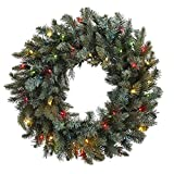 Nearly Natural Pine Wreath with Colored Lights, 30''