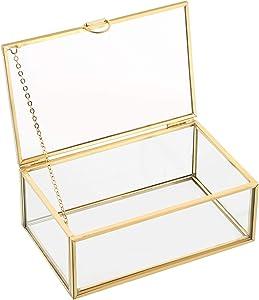NATGAI Copper Golden Vintage Glass Lidded Box Decorative Jewelry Keepsake Display Organizer Clear Rectangle Box Rings Bracelet Golden Organizer for Wedding Birthday Party Decor (5.7x3.5x2 in)