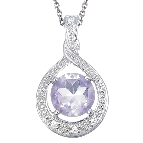 Sterling Silver Amethyst Pendant 1.25 CT With 18 Inch Chain