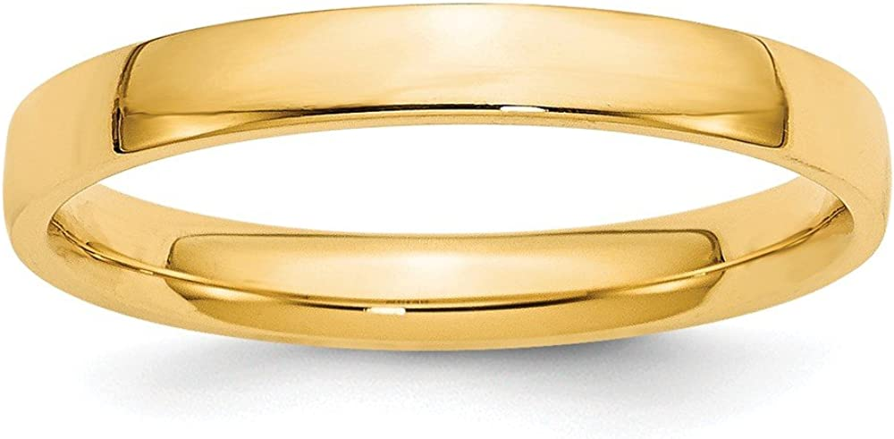 Jewel Tie 14k Yellow Gold 3mm Comfort Fit Wedding Band