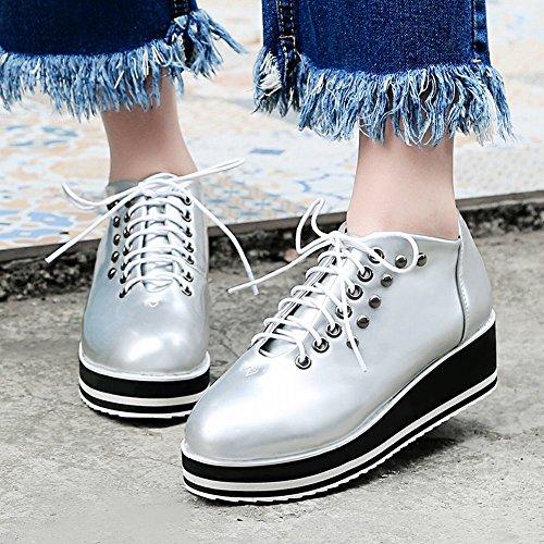 Charm Foot Womens Comfort Schiuma Suola Piattaforma Stringate Oxford Scarpe Argento