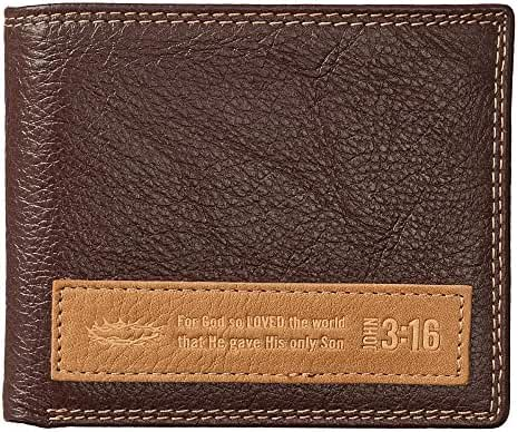 Dark Brown Genuine Leather Wallet w/Applique - John 3:16