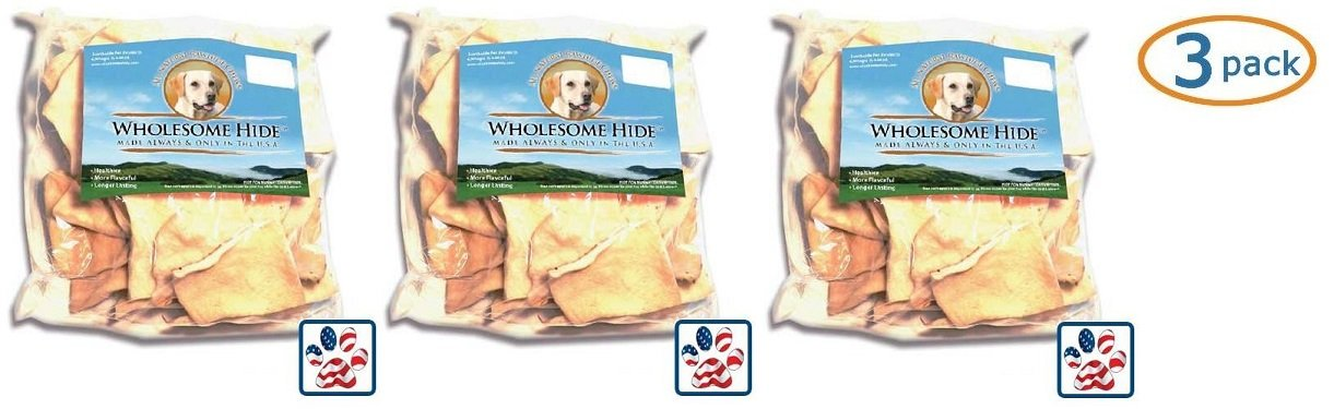 Premium USA Beef Hide - Chips 2 Lb (Pack of 3) by Wholesome Hide