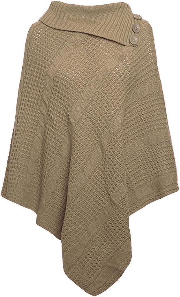 Comfiestyle Neuf pour Femme Big Taille Plus c/âble tricot/é 3/Bouton Cape Poncho Mesdames Jumper