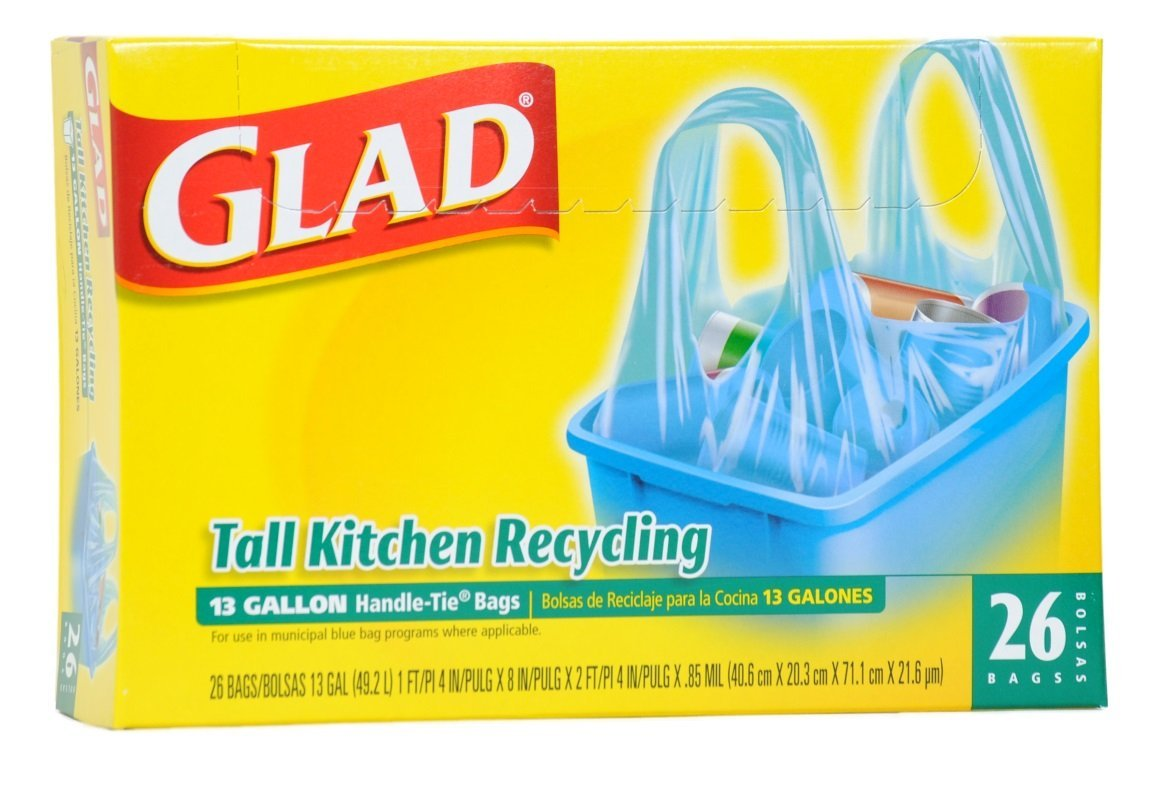 Glad Tall Kitchen Recycling Trash Bags, 13 gallon, 26 Count