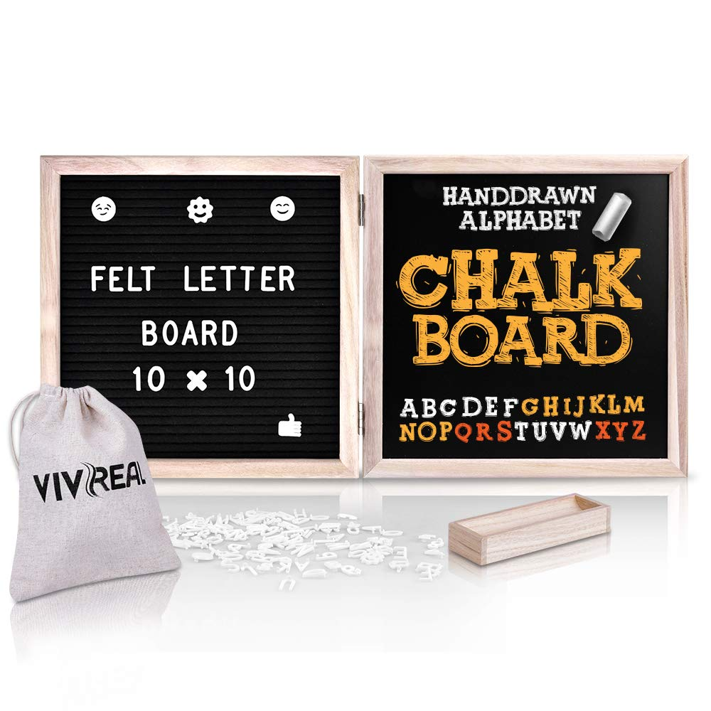 Felt Letter Board - 10'' x 10'' Letter Board & 10'' x 10'' Chalkboard with 340 White Letters, Wood Frame, Message Board with Letters for Education, Decoration and Perfect Gift VIVREAL LBCB0011-1