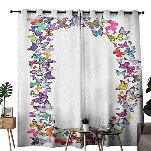 duommhome Letter D Kids Room Curtains Magical Creatures Flying Monarch Butterflies Fragility Grace Artistic Collection for Living, Dining, Bedroom (Pair) W96 x L108 Multicolor