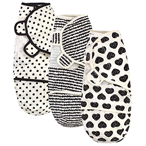 Touched by Nature Unisex Baby Organic Cotton Swaddle Wraps, Heart 3-Pack, 0-3 Months