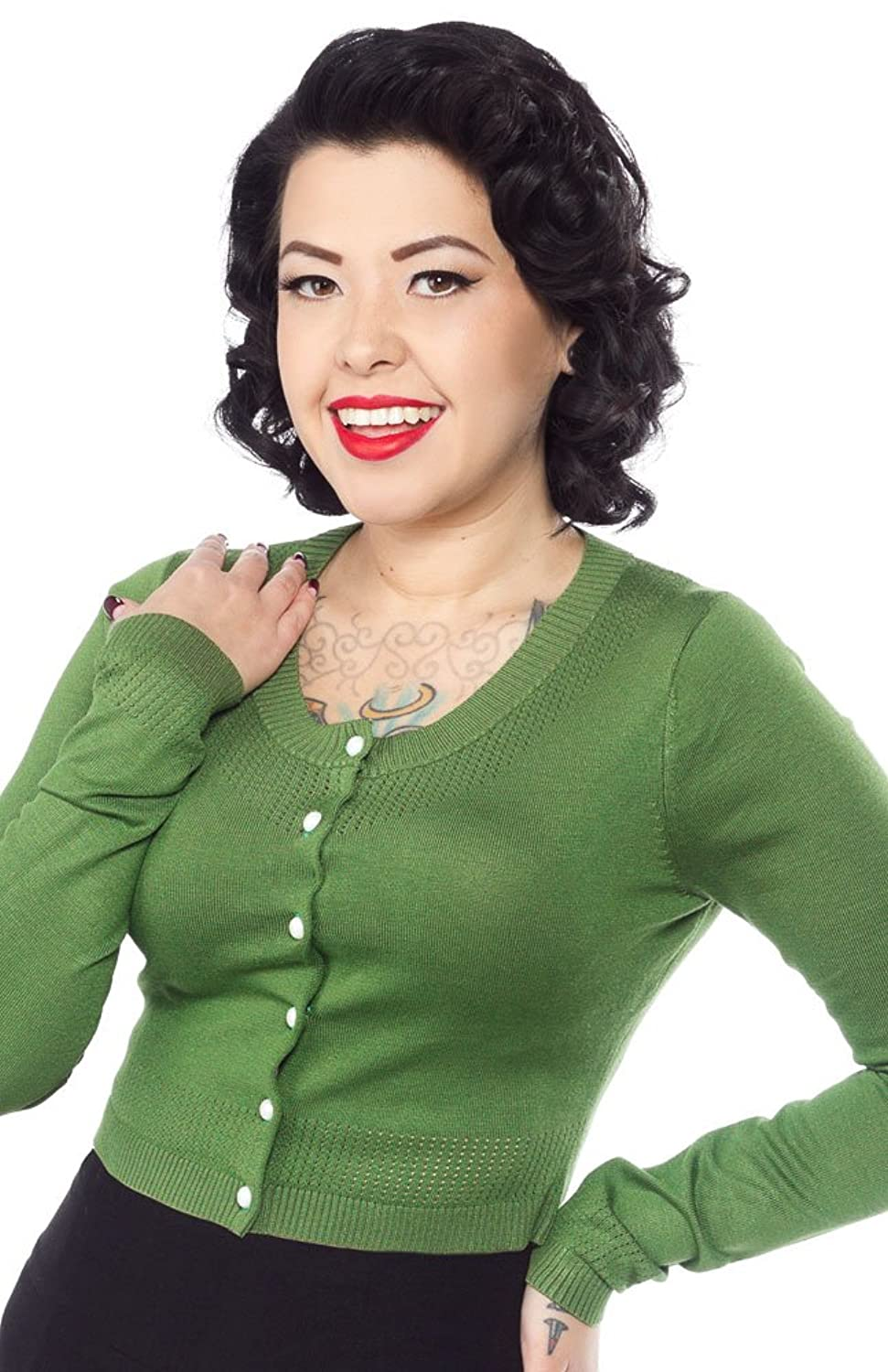 1950s Style Sweaters, Crop Cardigans, Twin Sets Sourpuss Long Sleeve Pointelle Cardigan Green $47.99 AT vintagedancer.com