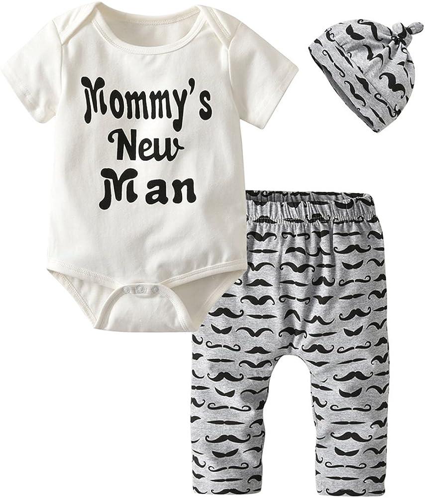 3Pcs Baby Boys Clothes Mommy's New Man Romper Moustache Pants Hat Outfits Set