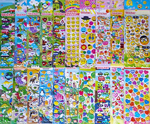 Kids stickers 1200+, 20 different Sheets, 3D Puffy Stickers, Bulk Stickers for Kids Girl Boy Birthday Gift, Teachers, Toddlers, valentine, Including Animals, dinosaurs, Fishes, Hearts and ()