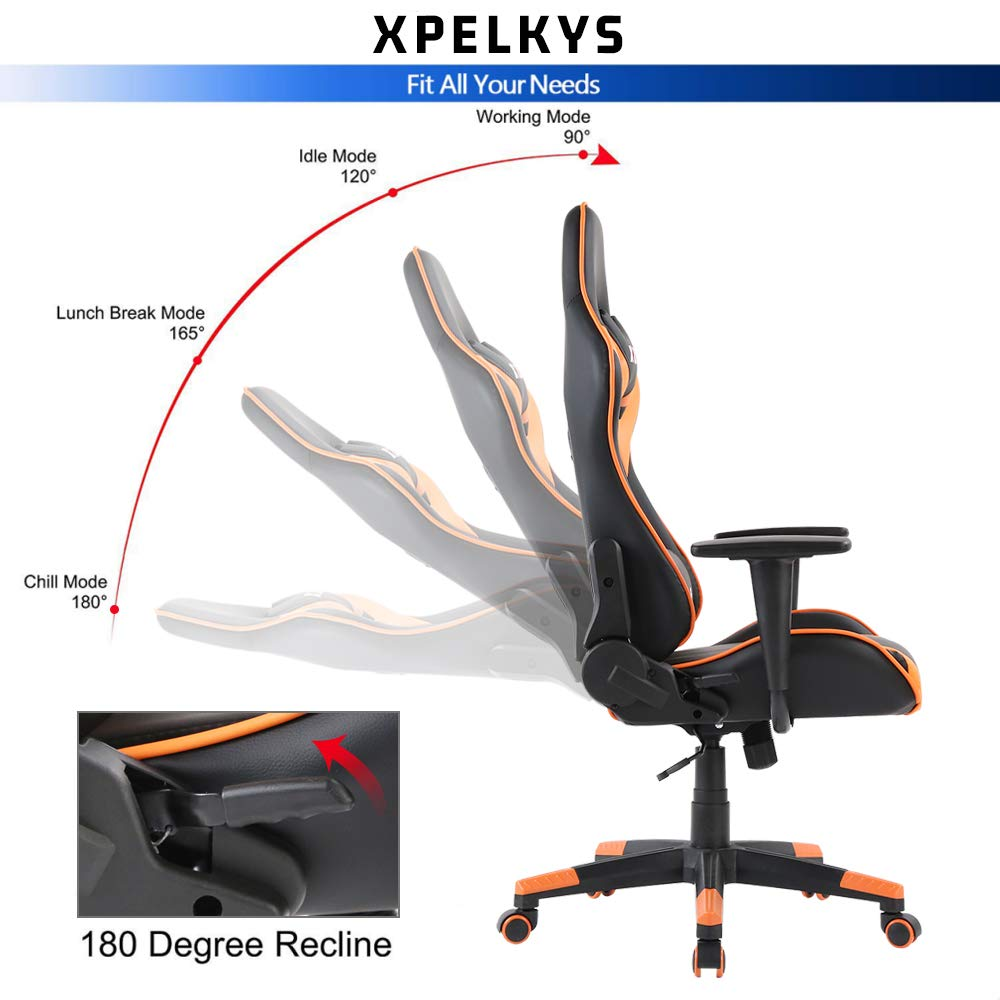 XPELKYS Gaming Chair Racing Video Game Chair Ergonomic Backrest and Seat Height Adjustment Computer Chair with Pillows Recliner Swivel Rocker Headrest and Lumbar Support Orange