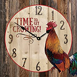 Time to Get Crowing! Rooster Rustic 14 x 14 Wood Wall Clock Sign