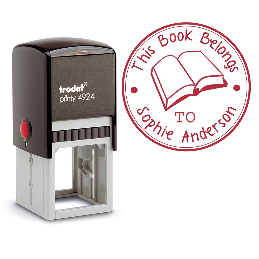 Red Ink, Self Inking Personalized Teacher Stamp This Book Belongs To School Student Open Book Library Book Stamper Custom Large Round 3 Lines Customized Personal Teacher Appreciation Book Label by Pixie Perfect Stamps (Image #4)