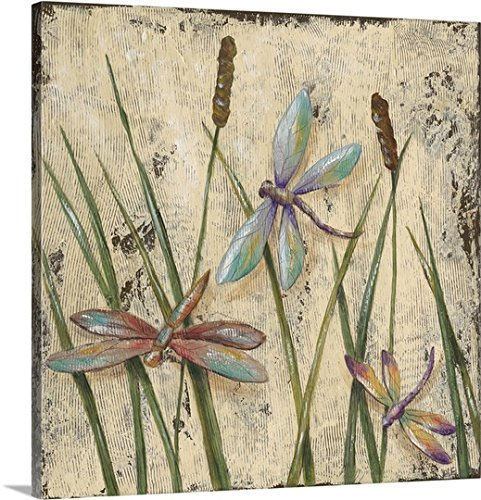Dragonfly Canvas (Jade Reynolds Premium Thick-Wrap Canvas Wall Art Print entitled Dancing Dragonflies I)