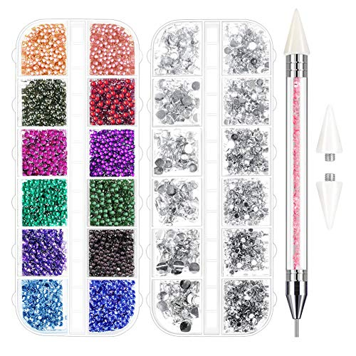 Anezus Jewel Picker Pickup Tool Kit with 4700 Pcs Nail Gems Rhinestones Nail Stones for Nail Art Supplies