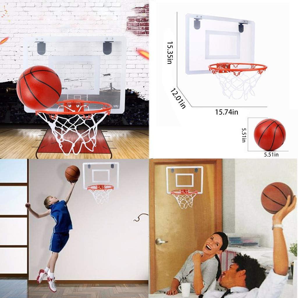 lUKSY US-Direct 子供用屋内バスケットボールボード 壁取り付けミニバスケットボールフープ ボール1個と空気入れ1個付き 飛散防止バックボード 自宅やオフィス用デザイン