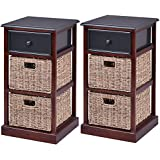 Giantex 2 Pcs 3 Tier Nightstand End Table w/ 1 Drawer 2 Basket Wood Bedside Sofa Table Organizer Home Bedroom Living Room Furniture Red Brown