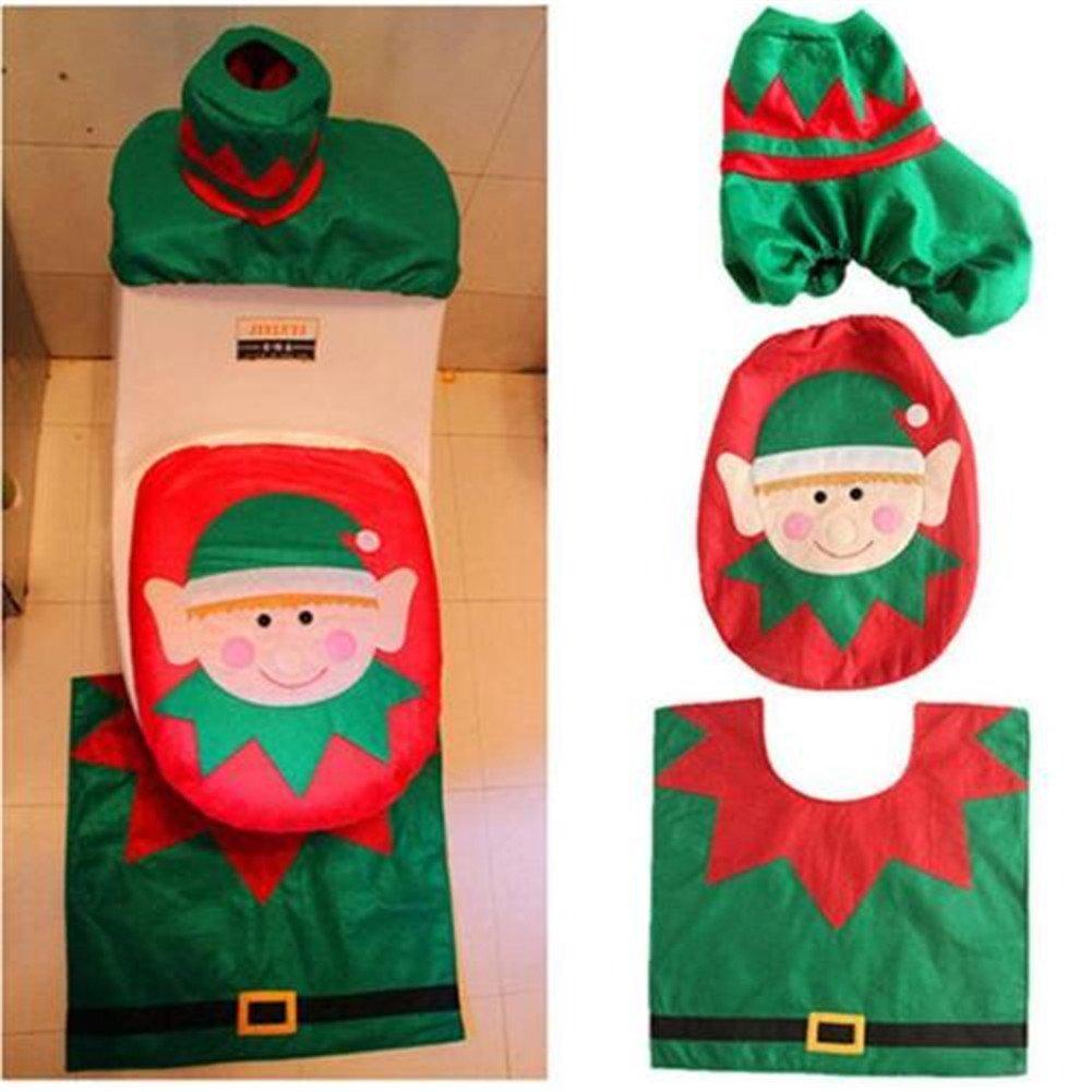 HENGSONG Christmas Elf Dekoration für Badezimmer Weihnachtsdeko Set Toilettensitzbezug & Teppich & Gewebe Deckel Geschenk mei_mei9