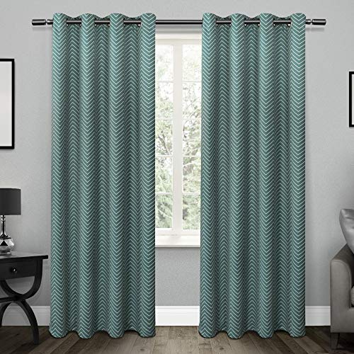 Exclusive Home Curtains Chevron Thermal Blackout Grommet Top Window Curtain Panel Pair, Teal, 52x96