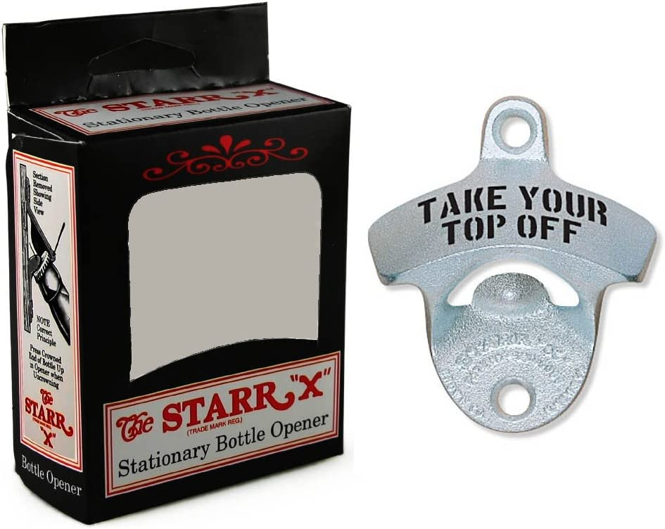 Starr Metal Wall Mount Bottle Opener Take Your Top Off