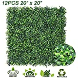 """Sunnyglade 12PCS 20""""x20"""" Artificial Boxwood Panels Topiary Hedge Plant, Privacy Hedge Screen, UV Protected Faux Greenery Mats Suitable for Outdoor, Indoor, Garden, Fence, Backyard and Décor (12PCS)"""