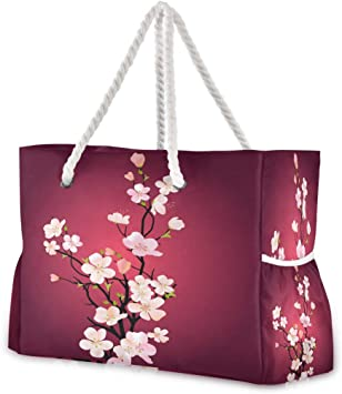 Hunihuni Bolsa de playa japonesa Sakura Blossom, bolsa de viaje con asas de cuerda de algodón, cremallera superior, dos bolsillos exteriores: Amazon.es: Equipaje
