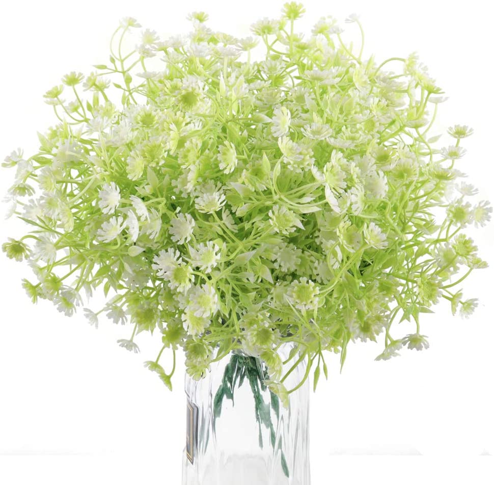 Beferr Artificial Fake Flowers Outdoor UV Resistant Daisy Wild Flowers 5 Bundles Faux Greenery Shrubs Fake Plastic Plant Bushes for Indoor Office Home Table Farmhouse Decor (White)