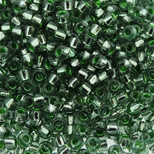 Miyuki Seed Beads 8/0 Silver Lined Lichen Green 22gram Tube of Beads
