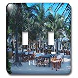 3dRose lsp_205196_2 Print of South Miami Outdoor Beach Restaurant Double Toggle Switch