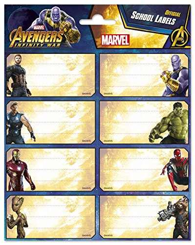 Grupo Erik Editores - Etiquetas ahesivas Los vengadorfes Infinity War Marvel, 8 x 4 cm