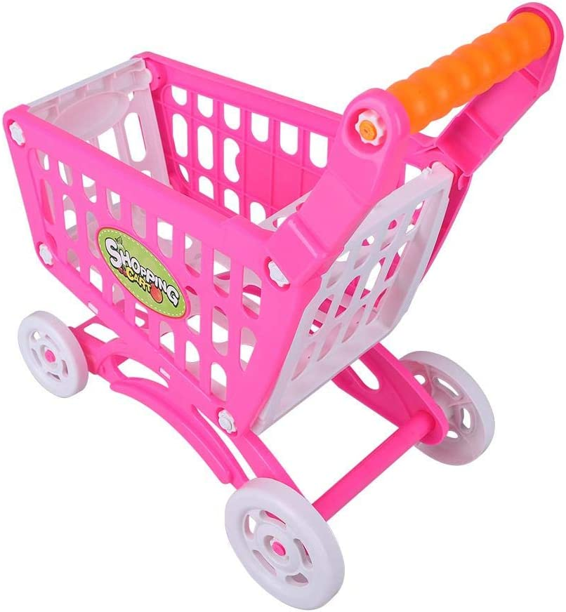 Toy Shopping Cart, Kids Shopping Cart Pretend Role Play Food Set Gifts for Kids above 3 Years Old