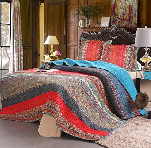 Exclusivo Mezcla 100% Cotton 3-Piece Paisley Boho Striped Queen Size Quilt Set/Bedspread- Lightweight, Reversible& Decorative