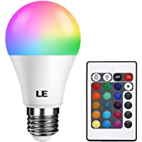 LE Colour Changing Light Bulb E27, RGB + Warm White, 6W Dimmable, A60 LED Bulb, 16 Color Choices for Home Decoration, Remote Controller Included